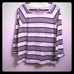 Lucky Brand Striped Grey Long Sleeve Tee Womens L